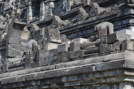 indonesia culture: Stoned image of Buddha in Borobudur, Indonesia Stock Photo