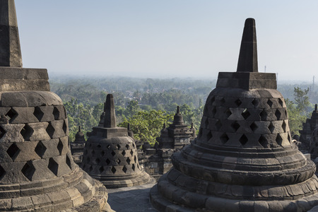 tabernacle: Borobudur temple complex on the island of Java in Indonesia in the morning at sunrise Stock Photo