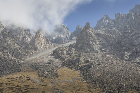 The panorama of mountain landscape of Ala-Archa gorge in the summers day, Kyrgyzstan. Stock Photo