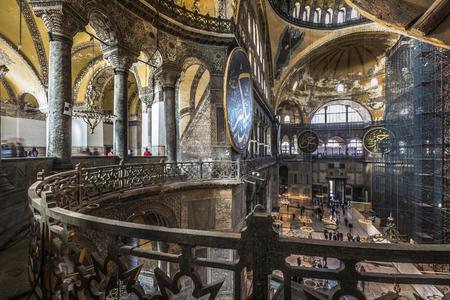 aya: The Hagia Sophia (also called Hagia Sofia or Ayasofya) interior architecture, famous Byzantine landmark and world wonder in Istanbul, Turkey