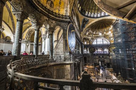 aya: ISTANBUL, TURKEY - DECEMBER 13, 2015: The Hagia Sophia (also called Hagia Sofia or Ayasofya) interior architecture, famous Byzantine landmark and world wonder in Istanbul, Turkey