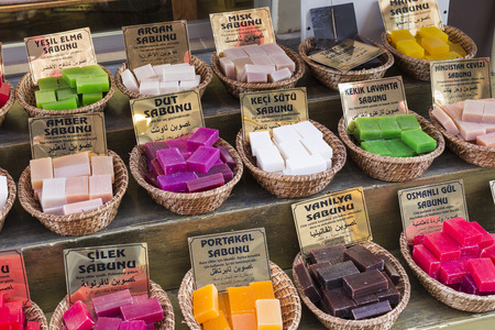bazaar: Stock of natural soap. Grand Bazaar, Istanbul, Turkey. Stock Photo
