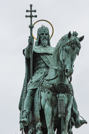 schulek: Statue of Saint Stephen I in Front of Fishermans Bastion at Buda Castle in Budapest, Hungary Editorial