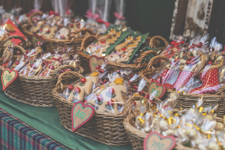 christkindlmarkt: Gingerbread hearts in wicked basket at Budapest Christmas market.