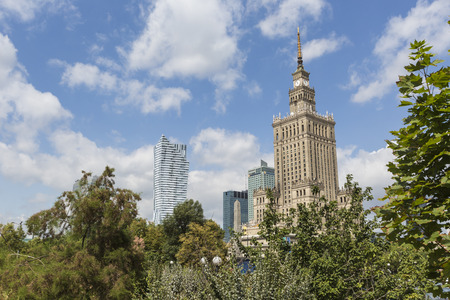 communism: Warsaw, Poland. City center with Palace of Culture and Science (PKiN), a landmark and symbol of Stalinism and communism