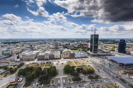 agglomeration: Warsaw, Poland - JULY 09, 2015 View from the observation deck of the Palace of Culture and Science. Editorial