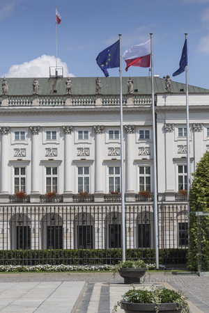 municipal editorial: WARSAW, POLAND - JULY 09, 2015: Presidential Palace in Warsaw, Poland. Before it: Bertel Thorvaldsens equestrian statue of Prince Jozef Poniatowski.