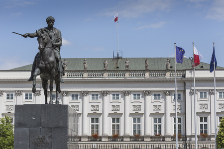 Presidential Palace in Warsaw, Poland. Before it: Bertel Thorvaldsens equestrian statue of Prince Jozef Poniatowski.