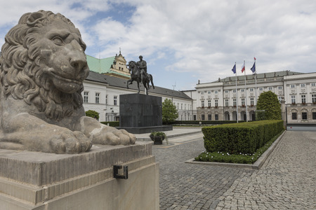 WARSAW, POLAND - JULY, 08: Presidential Palace in Warsaw, Poland. Before it: Bertel Thorvaldsens equestrian statue of Prince Jozef Poniatowski.