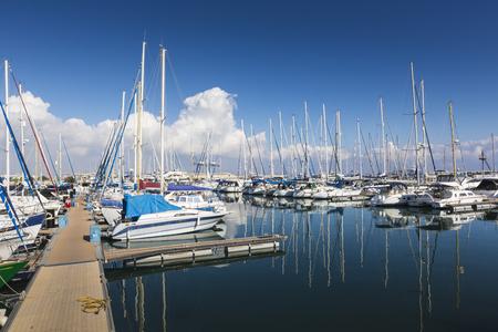 berth: Yachts in Larnaca port, Cyprus. Stock Photo
