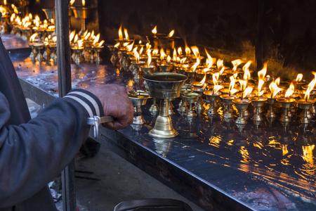 divali: Candles at swayambhunath temple in Kathmandu, Nepal Editorial
