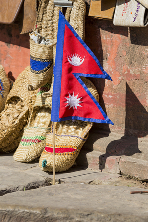 darbar: Sale by Nepalese flags on the square Darbar, Nepal. Stock Photo