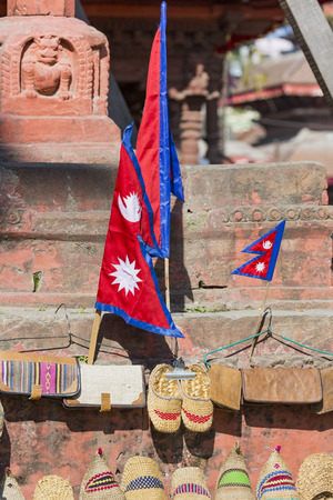 Sale by Nepalese flags on the square Darbar, Nepal. Stock Photo