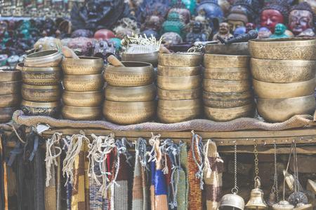 sonorous: Several singing bowls displayed at a market in Kathmandu, Nepal