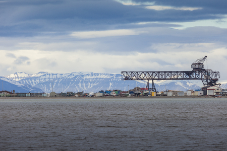 inclement weather: Beautiful scenic view of Longyearbyen (Svalbard island), Norway