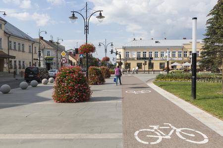 postwar: SUWALKI, POLAND - JULY 24, 2014: Traditional architecture in Suwa?ki, Poland. Editorial