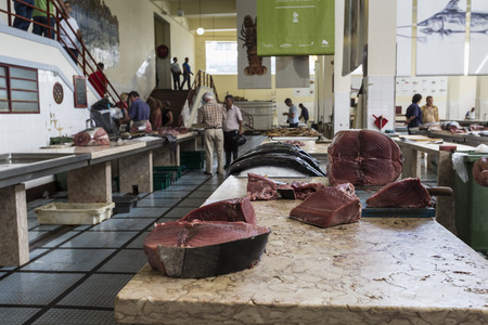 june 25: FUNCHAL, PORTUGAL - JUNE 25: Fresh fish in Mercado Dos Lavradores.on June 25, 2015 in Madeira Island, Portugal.