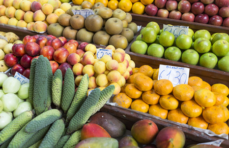 anona: Fresh exotic fruits in Mercado Dos Lavradores. Funchal, Madeira Stock Photo