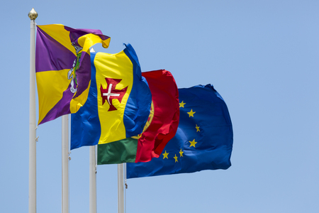 portugese: A collection of flags on the Funchal