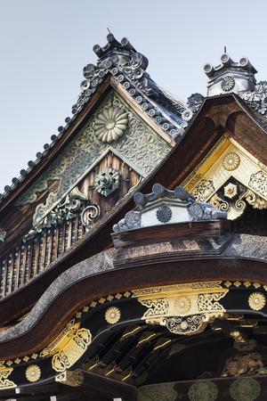 nijo: Ninomaru Palace rooftop at Kyoto Nijo Castle in Kyoto, Japan.