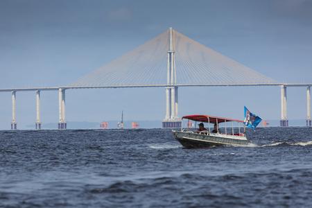 bridging: MANAUS, BRAZIL, OCTOBER 17:The Manaus Iranduba Bridge (called Ponte Rio Negro in Brazil) is a bridge over the Rio Negro. Amazonas State. Brazil 2013