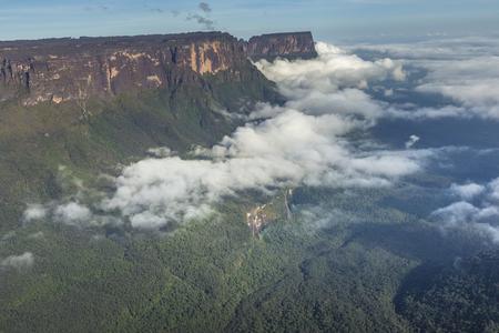 View from the Roraima tepui on Kukenan tepui at the mist - Venezuela, South America Stock Photo