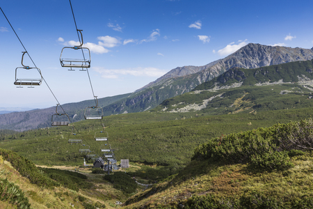polska: Cable car in Kasprowy Wierch peak in Tatra mountains, Poland. Stock Photo