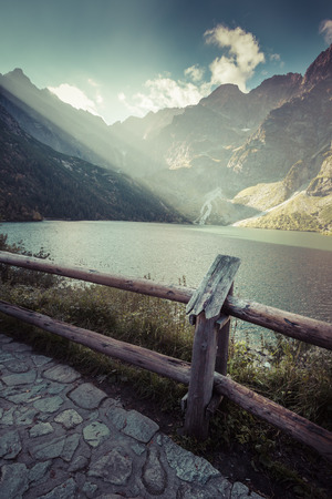 morskie: Green water mountain lake Morskie Oko, Tatra Mountains, Poland Stock Photo