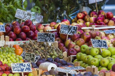 Fresh fruits on a farm market in Copenhagen, Denmark.