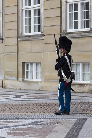 royal guard: COPENHAGEN, DENMARK -SEPTEMBER 8: Royal Guard in Amalienborg Castle in Copenhagen in Denmark on September 08 2014 in Copenhagen, Denmark. Editorial