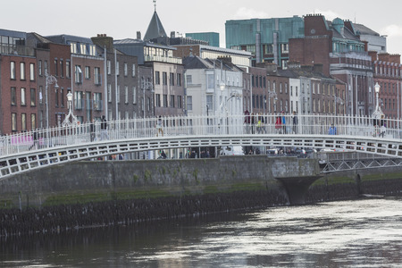 liffey: DUBLIN -JANUARY 12: Liffey river on January 12, 2015, Dublin. Editorial
