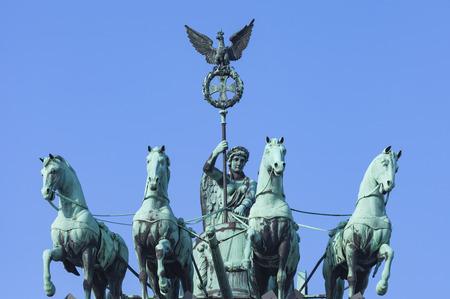 quadriga: BERLIN, GERMANY - APRIL 11, 2014: The Quadriga on top of the Brandenburg gate, Berlin