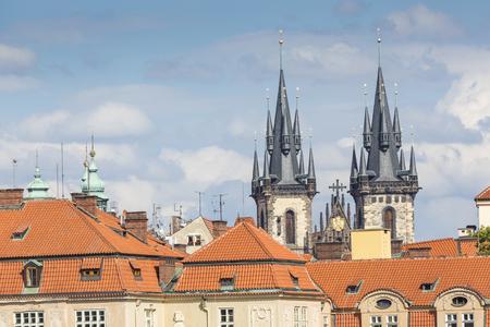 View of the Tyn Church in Prague Redakční