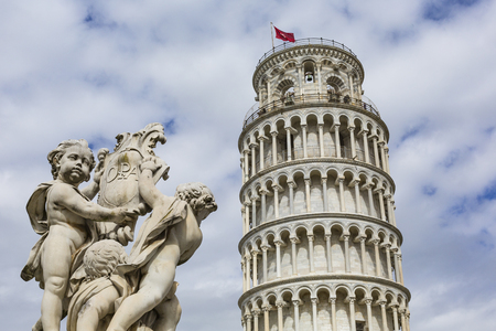 miracoli: View of Leaning tower and the Basilica, Piazza dei miracoli, Pisa, Italy Editorial