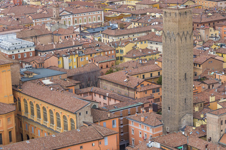 torri: Cityscape view from Due torri or two towers, Bologna, province Emilia-Romagna, Italy