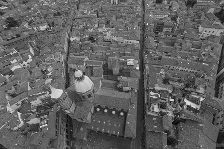 torri: Black and White Cityscape view from Due torri or two towers, Bologna, province Emilia-Romagna, Italy