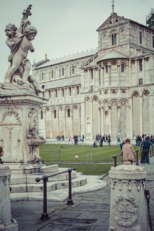 piazza dei miracoli: PIZA, ITALY - 10 MARCH, 2016: View of Leaning tower and the Basilica, Piazza dei miracoli, Pisa, Italy
