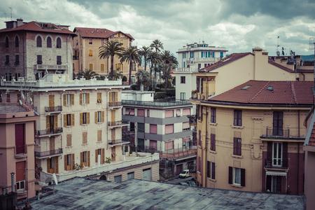 spezia: LA SPEZIA, ITALY - MARCH 09, 2016: The high narrow houses of La spezia city in northern italy