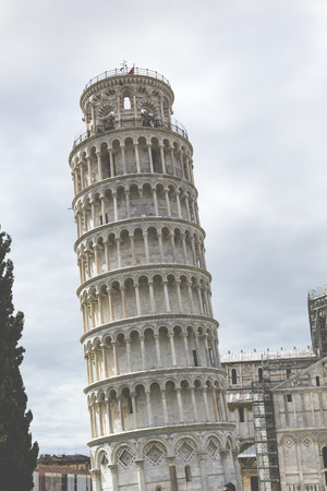 miracoli: View of Leaning tower and the Basilica, Piazza dei miracoli, Pisa, Italy Stock Photo