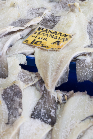 bacalao: Salted Cod fish Bacalao on the market, Greece. Stock Photo