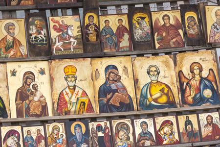 sofia: SOFIA BULGARIA APRIL 14, 2016 :Wood made Orthodox religious painting icon, in downtown Sofia, Bulgaria.