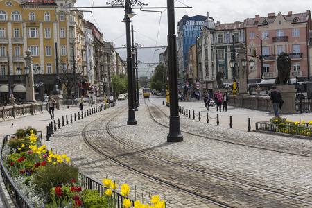 sofia: SOFIA, BULGARIA, APRIL 14, 2016: Traffic on the lions bridge in the center of Sofia. Editorial