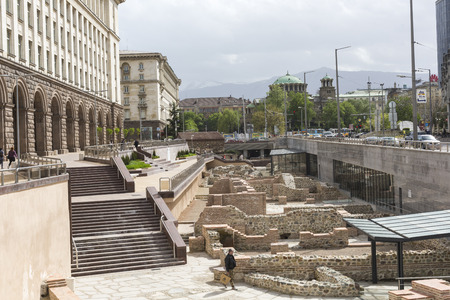 SOFIA, BULGARIA - APRIL  14, 2016: Archaeological excavation of the roman town Serdica in downtown of Sofia Editöryel