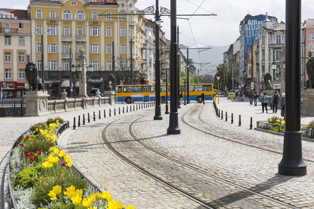 SOFIA, BULGARIA, APRIL 14, 2016: Traffic on the lions bridge in the center of Sofia.