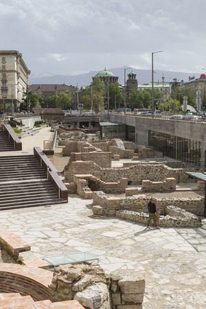 archaeologist: SOFIA, BULGARIA - APRIL  14, 2016: Archaeological excavation of the roman town Serdica in downtown of Sofia Editorial