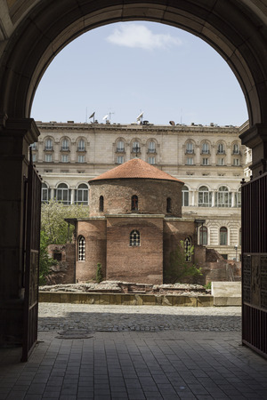 rotunda: SOFIA, BULGARIA - APRIL 14: The Church of St George is an Early Christian red brick rotunda that is considered the oldest building in Sofia, the capital of Bulgaria. On April 14, 2016