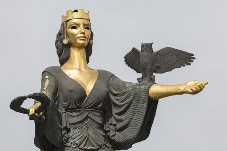 represents: SOFIA, BULGARIA APRIL 14, 2016 - Monument of Saint Sofia in Sofia, Bulgaria. Located on Sveta Nedelya square. The statue represents Saint Sofia, the goddess protector of the city. Editorial