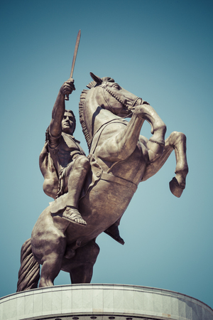 horse warrior: Warrior on a Horse statue Alexander the Great on Skopje Square Editorial