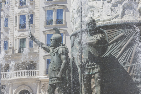 alexander the great: Monument of Alexander the Great in downtown of Skopje, Macedonia, fountain of water and falanga warriors