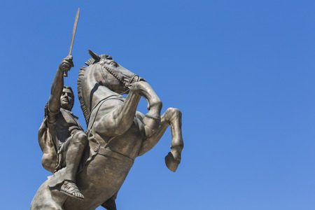 Warrior on a Horse statue Alexander the Great on Skopje Square Editorial